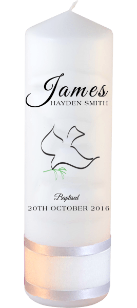 Baptism Candle Name Font 4 Dove