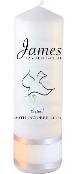 Baptism Candle Name Font 5 Dove