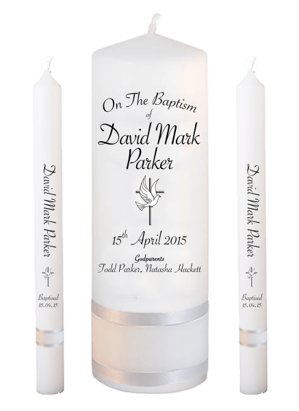 Baptism Candle Lighting Set Ceremony Plus Font 5 - cross and dove