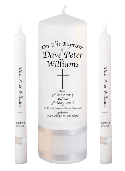 Baptism Candle Lighting Set Deluxe Font 2 - cross 2
