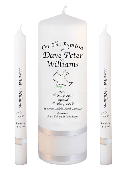 Baptism Candle Lighting Set Deluxe Font 2 - dove