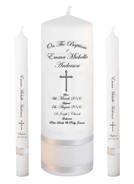 Baptism Candle Lighting Set Deluxe Font 3 - cross