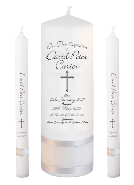 Baptism Candle Lighting Set Deluxe Font 4 - cross