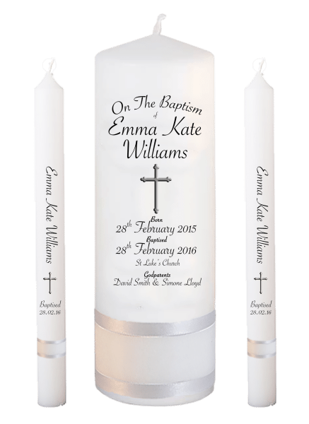 Baptism Candle Lighting Set Deluxe Font 5 - cross