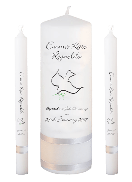 Baptism Candle Lighting Set Welcoming Font 4 - dove