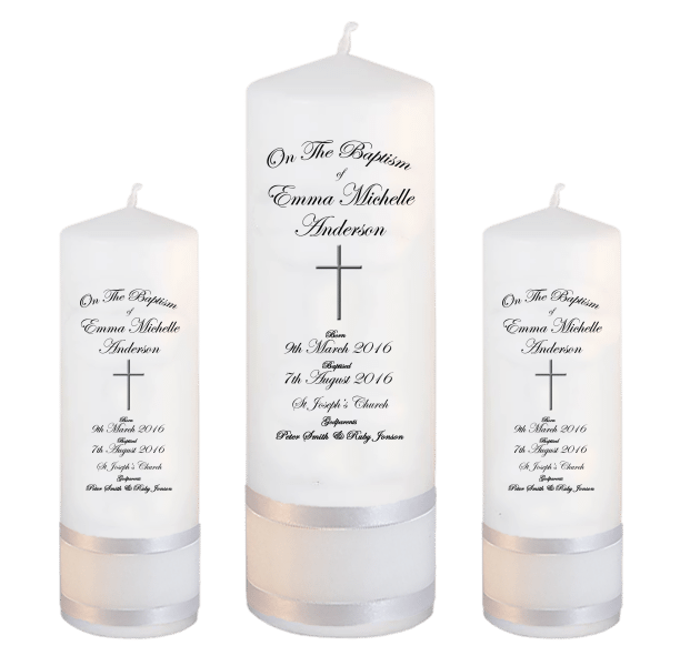 Baptism Candle Set Deluxe Font 3 - cross 2