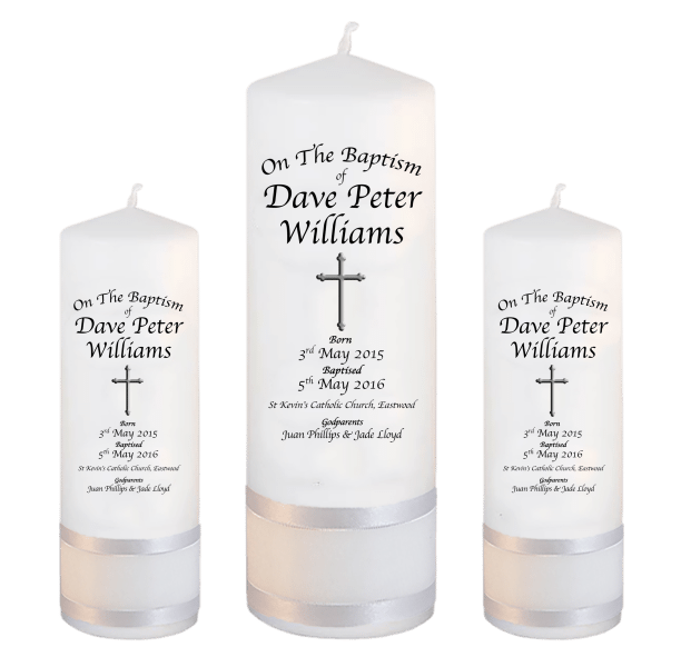 Baptism Candle Set Deluxe Font 2 - cross