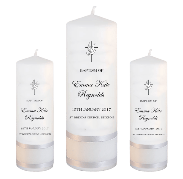Baptism Candle Set Modern Font 4 - cross and dove