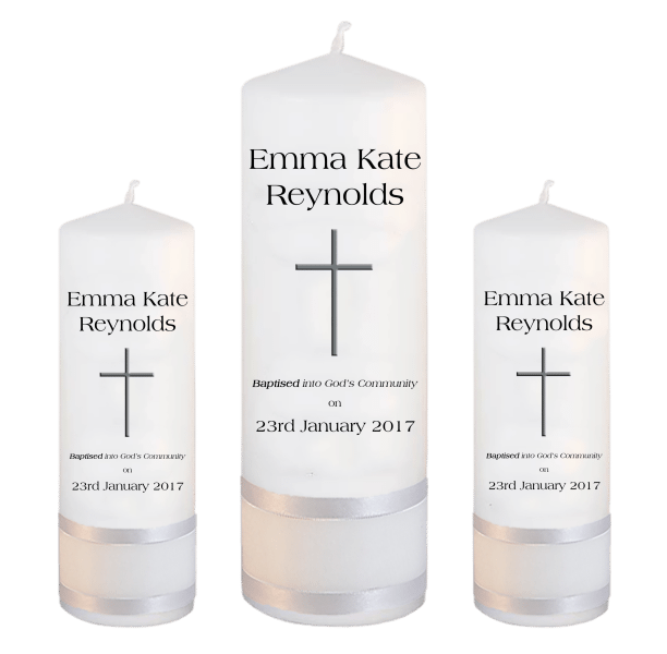 Baptism Candle Set Welcoming Font 1 - cross 2