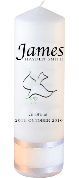 Christening Candle Name Font 2 Dove