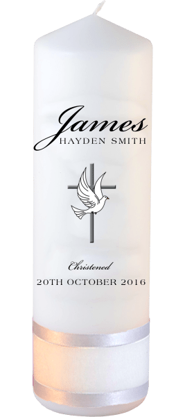 Christening Candle Name Font 3 Cross and Dove