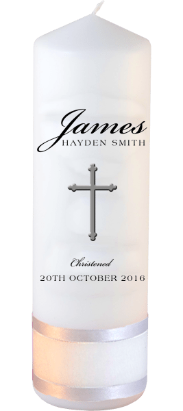 Christening Candle Name Font 3 Cross