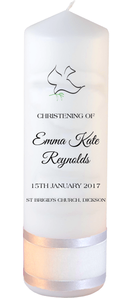 Christening Candle Modern Font 2 Dove 1