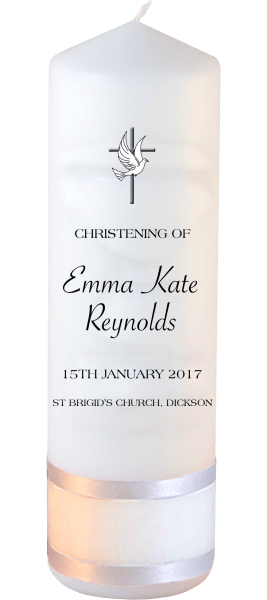 Christening Candle Modern Font 3 Cross and Dove