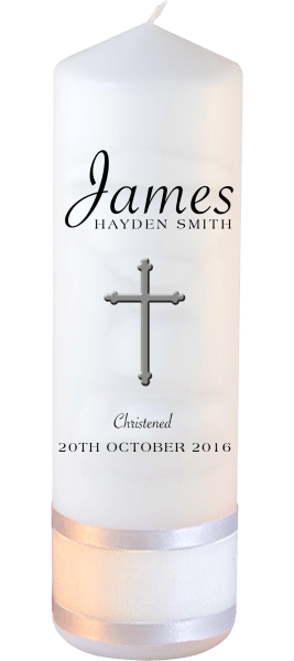 Christening Candle Name Font 5 Cross