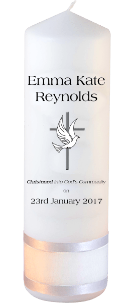 Christening Candle Welcoming Font 1 Cross and Dove