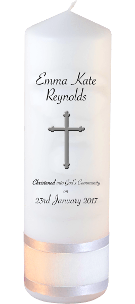 Christening Candle Welcoming Font 5 Cross