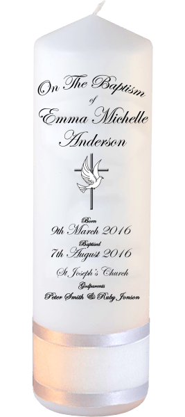Baptism Candle Deluxe Font 3 Cross and Dove