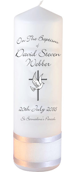 Baptism Candle Ceremony plus Font 4 Dove and Cross