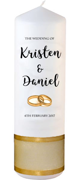 Wedding Candle Formal Font 3 gold rings