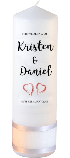Wedding Candle Formal Font 3 red hearts