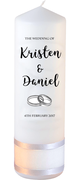 Wedding Candle Formal Font 3 silver rings