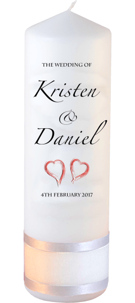 Wedding Candle Formal Font 4 red hearts