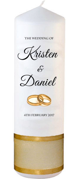 Wedding Candle Formal Font 5 Gold Rings
