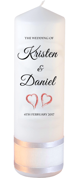 Wedding Candle Formal Font 5 red hearts