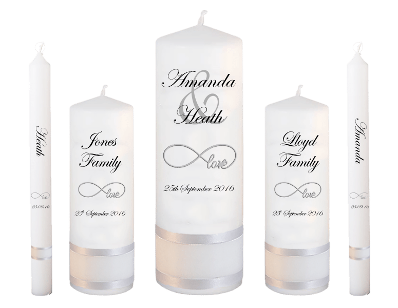 Wedding Candle Set Deluxe Modern font 2 love