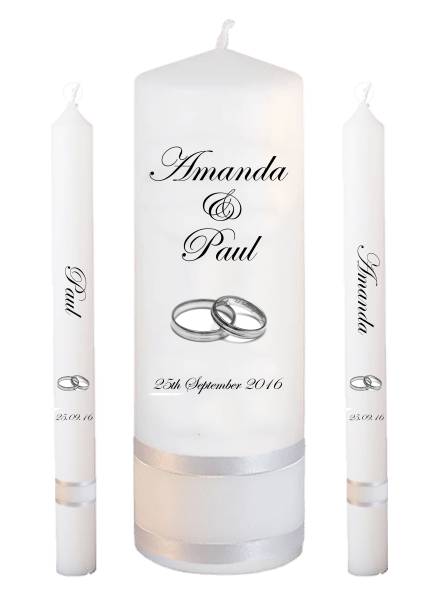 Wedding Candle Lighting Set Classic Font 2 silver rings
