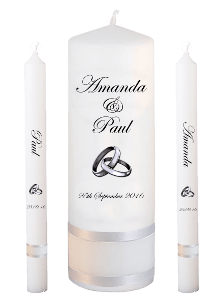 Wedding Candle Lighting Set Classic Font 2 silver rings upright
