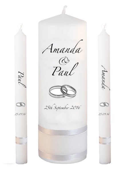 Wedding Candle Lighting Set Classic Font 3 silver rings
