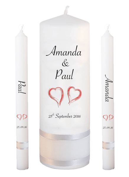 Wedding Candle Lighting Set Classic Font 4 - red hearts