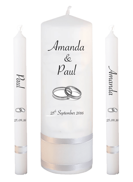 Wedding Candle Lighting Set Classic Font 4 silver rings