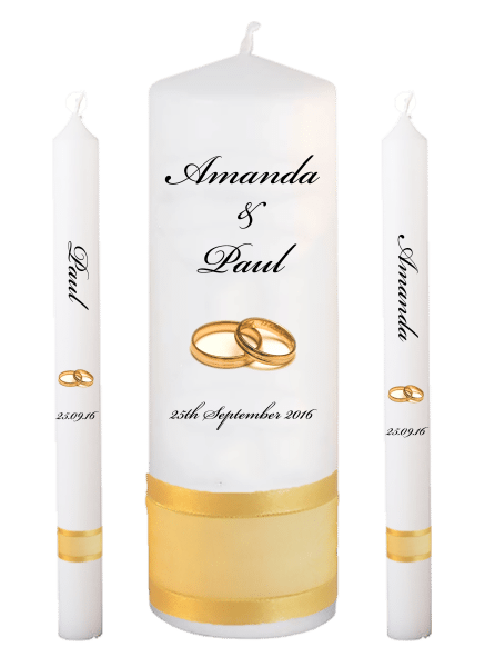 Wedding Candle Lighting Set Classic Font 5 gold rings