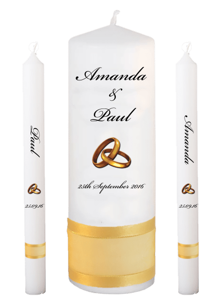Wedding Candle Lighting Set Classic Font 5 gold rings upright