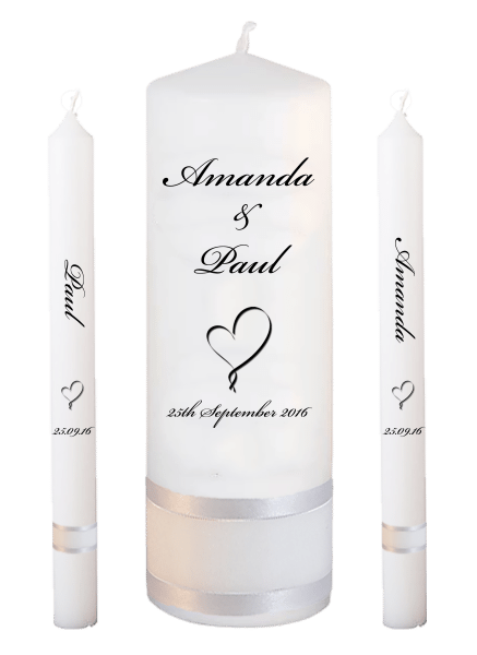 Wedding Candle Lighting Set Classic Font 5 heart
