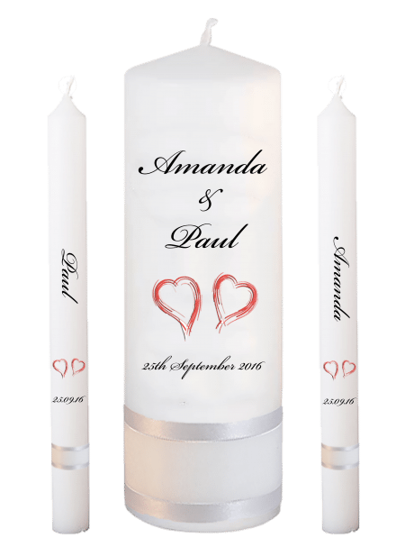 Wedding Candle Set Lighting Classic Font 5 Red Hearts