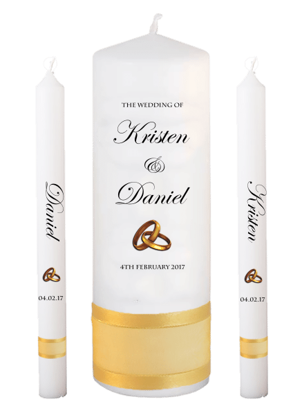 Wedding Candle Lighting Set Formal Font 2 - gold rings upright