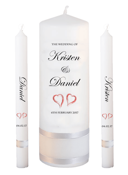 Wedding Candle Lighting Set Formal Font 2 - red hearts