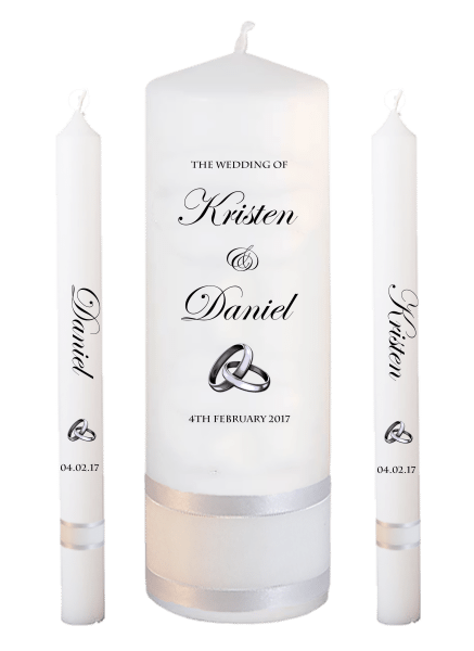 Wedding Candle Lighting Set Formal Font 2 - silver rings upright