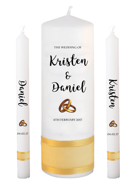 Wedding Candle Lighting Set Formal Font 3 - gold rings upright