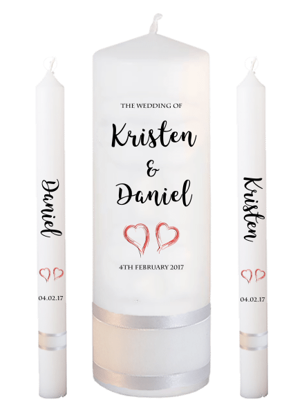 Wedding Candle Lighting Set Formal Font 3 - red hearts