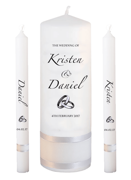 Wedding Candle Lighting Set Formal Font 4 - silver rings upright