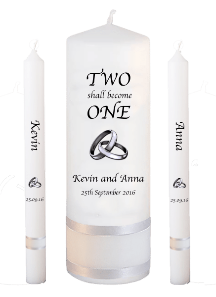 Wedding Candle Lighting Set Inscription Font 1 - silver rings upright