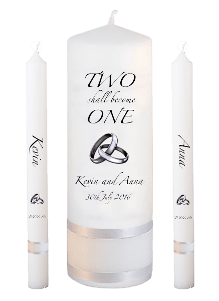 Wedding Candle Lighting Set Inscription Font 3 - silver rings upright