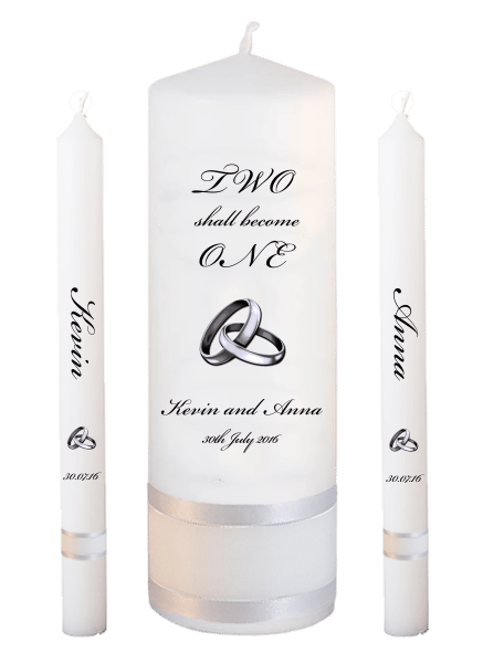 Wedding Candle Lighting Set Inscription Font 5 - silver rings upright