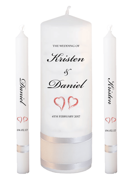 Wedding Candle Lighting Set New Design Font 1 - red hearts