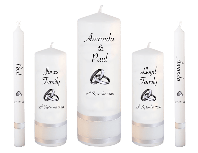 Wedding Candles Deluxe font 4 silver rings upright